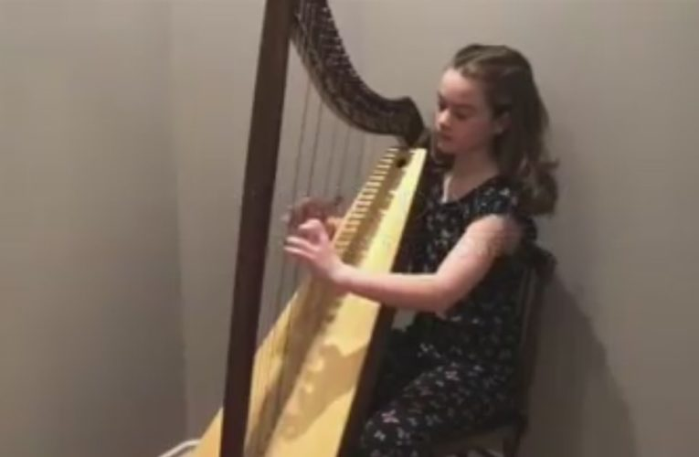 10-year-old harpist creates song, video to say 'thank you' to essential workers