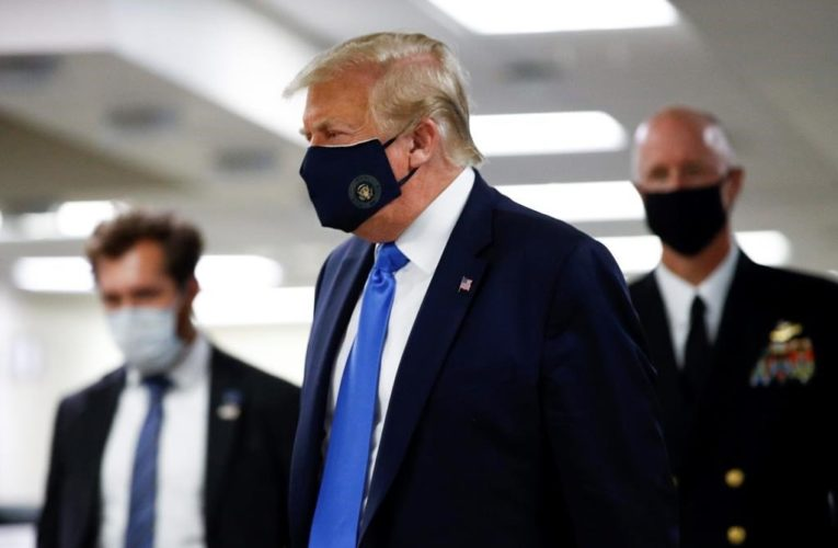Coronavirus: Trump wears face mask for first time during a public appearance