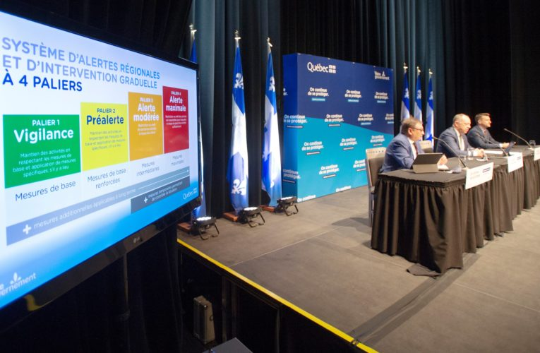 Quebec unveils colour-coded regional COVID-19 alert system as province reports 163 new cases