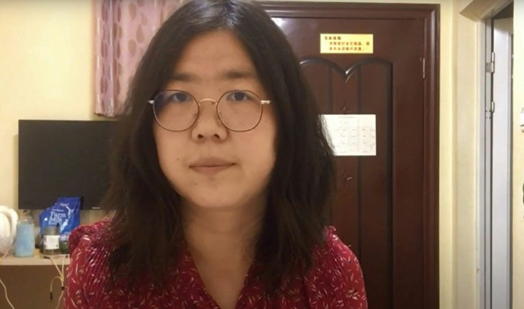 China's citizen journalist Zhang Zhan protests silently in jail