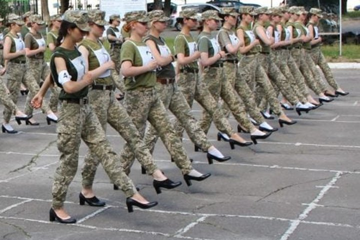 Ukraine army under fire for making female cadets march in heels